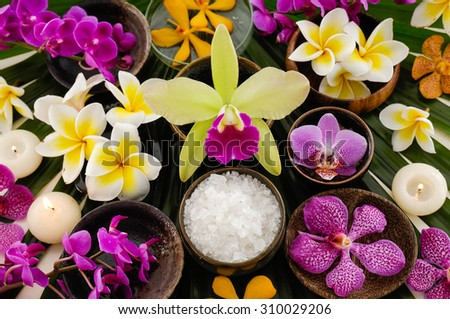 Set of many colorful frangipani and orchid in bowl ,candle on palm leaf - stock photo