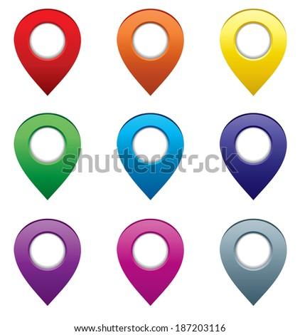 Set of map pointers. Raster illustration.  - stock photo