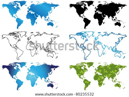 set of  maps of the world - stock photo