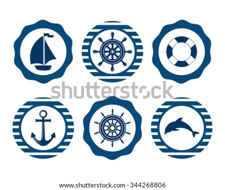 Set of marine symbols. Nautical and marine icons. Flat icons with sea symbols. Set of sea and nautical decorations. Symbol of sailors, sail, cruise and sea. Sea leisure sport.  - stock photo