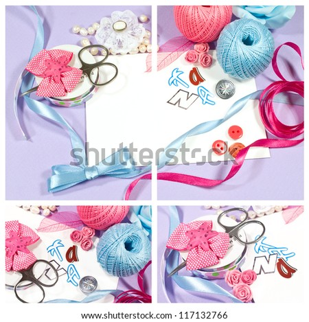 set of materials and tools for scrapbooking - stock photo