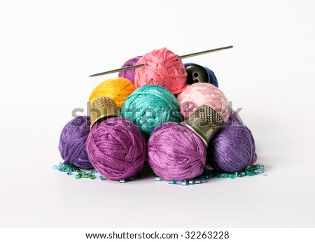 Set of materials and tools for the seamstress - stock photo