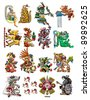 Set of Mayan - Aztec deities isolated on white - stock vector