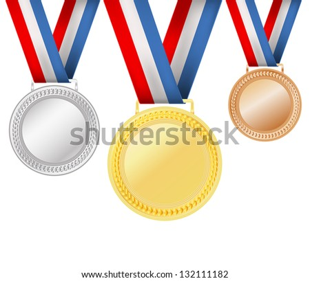set of medals on white