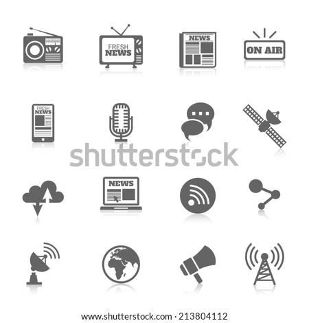 Set of media news tv global technology icons concept of newspaper wireless radio communication  illustration