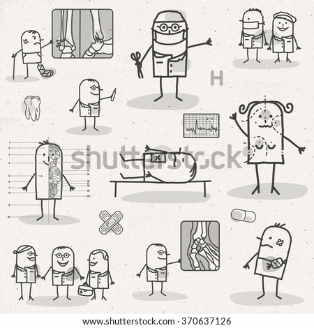 set of medical black and white cartoons - HOSPITAL AND SURGERY - stock photo