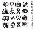 Set of medical icons, basics, isolated on white, raster version - stock vector