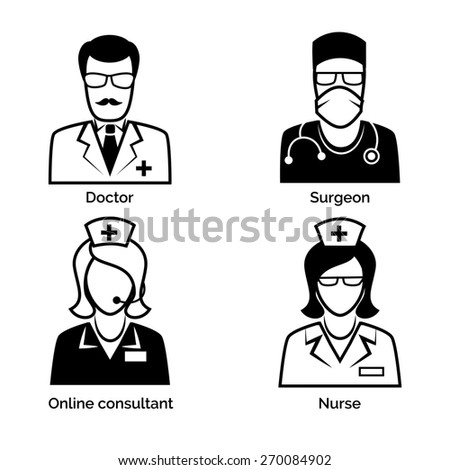 Set of medical staff icons. Doctor and nurse, surgeon and physician, online consultant and assistance - stock photo