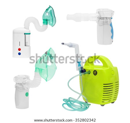 Set of medical ultrasonic, compressor, mesh inhaler, nebulizer, nebuliser, nebular with mask, mouthpiece. Respiratory. Asthma treatment. Bronchitis health equipment. Illness care, isolated on white  - stock photo
