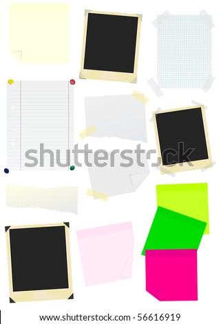 Set of Memo Sticks, School Papers and Photo Frames - stock photo