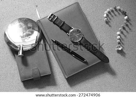 set of men diary wallet watches - stock photo
