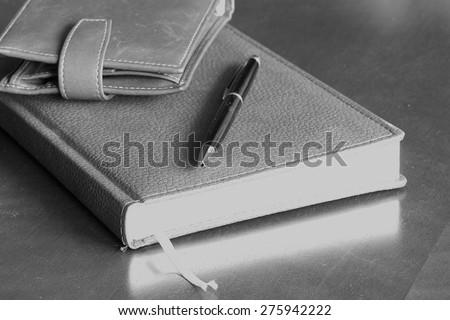 set of men diary wallet watches - stock photo