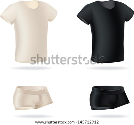 Set  of men's underwear items. T-shirts and panties made in two color versions. Raster image. Find an editable version in my portfolio.  - stock photo