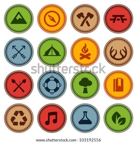 Set of merit achievement badges for outdoor activities - stock photo