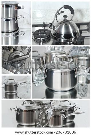 set of metal pots, teapots and kitchen equipment - stock photo