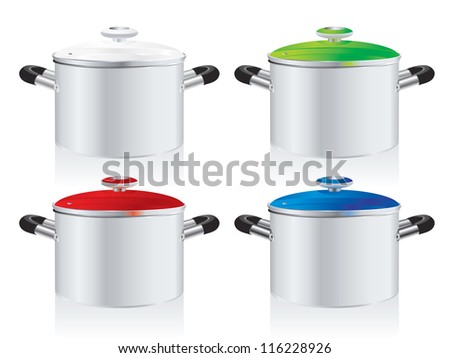set of metallic pans, covered with color lid - stock photo