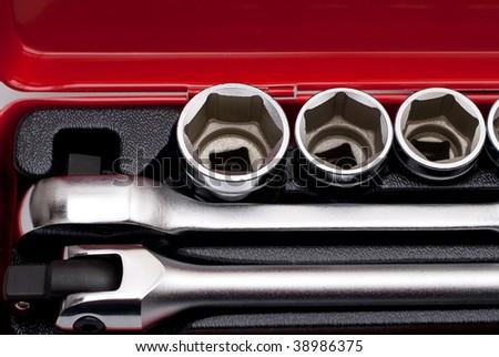 Set of metallic tools. Chrome wrench - stock photo