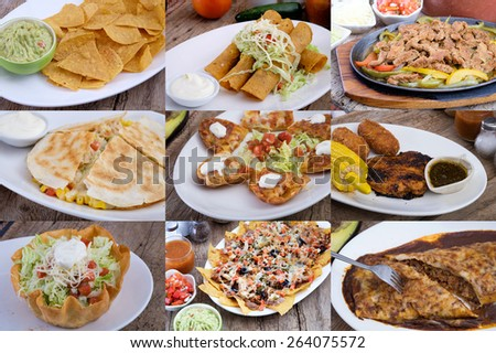 set of mexican food