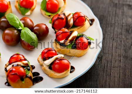 Set of mini italian canapes stock photo for Italian canape ideas