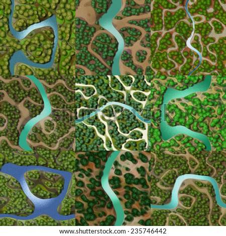 Set of mini landscape seamless generated backgrounds - stock photo