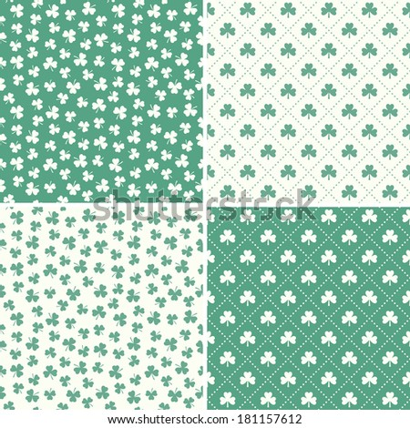 Set of mint green seamless backgrounds with shamrock or clover leaf patterns for St Patrick's Day, gift wrapping paper, scrapbook. - stock photo