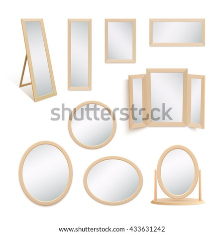 Set of mirrors isolated on white background. - stock photo