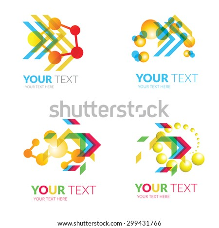 Set of modern abstract forms logos -  chemistry and molecule - stock photo