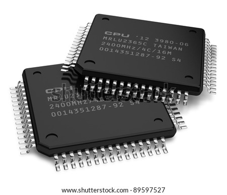 Set of modern computer microchips isolated on white background - stock photo