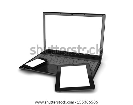 set of Modern Digital devices. Isolated on white background. 3d illustration - stock photo