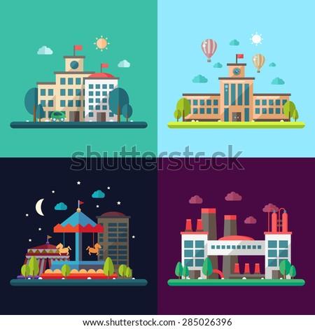 Set of modern flat design conceptual city illustrations - stock photo