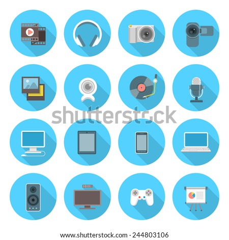 Set of modern flat multimedia icons in blue circles with long shadows. Interface icons for web or mobile application. - stock photo