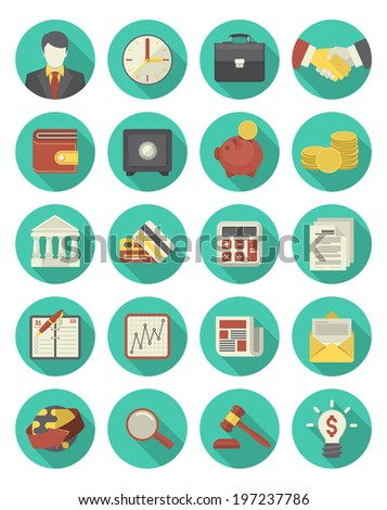 Set of modern flat stylized round icons, suitable for financial and business themes
