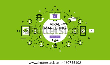 Set of modern illustration concepts of viral marketing. Line flat design hero banners for websites and apps with call to action button, ready to use