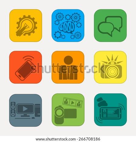 Set of modern media communication and hipster elements, camera photo selfie brain bubble lightbulb videocamera in retro design style. Raster version - stock photo