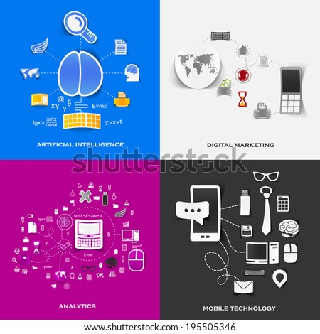 Set of modern stickers. Concept of artificial intelligence, digital marketing, analytics, mobile technology - stock photo
