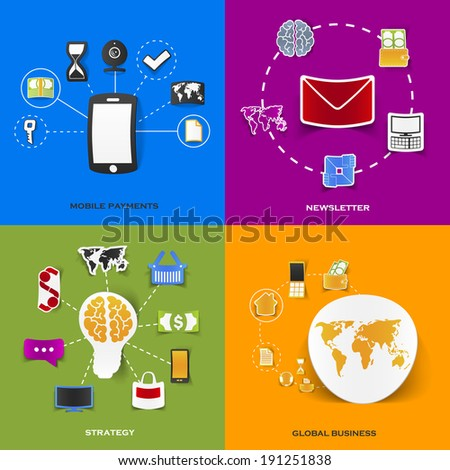 Set of modern stickers. Concept of mobile payments, newsletter, strategy, global business