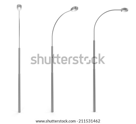 Set of Modern Street Lamp isolated on white background - stock photo