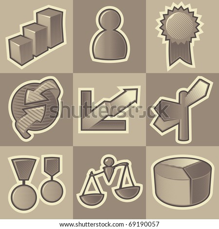 Set of monochrome business retro icons. Hatched in style of engraving. Raster version. Vector version is also available.