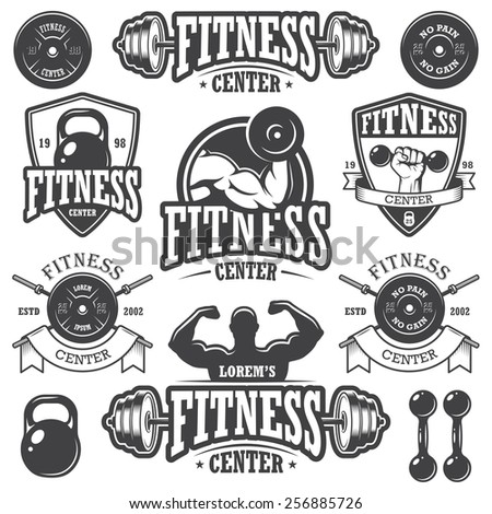 Set of monochrome fitness emblems, labels, badges, logos and designed elements. - stock photo