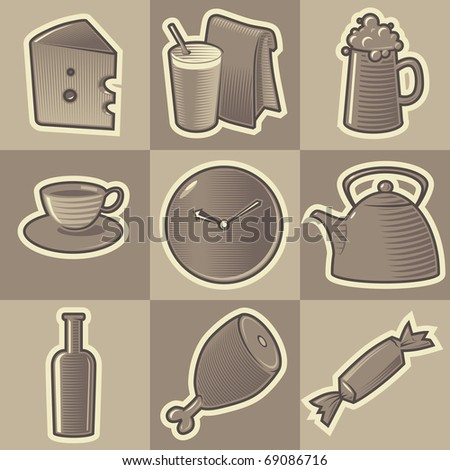 Set of monochrome food retro icons. Hatched in style of engraving. Raster version. Vector version is also available.
