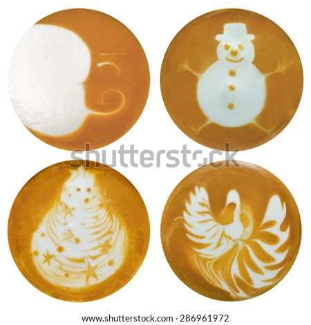 Set of moon,snowman,christmas tree,swan Latte Art, coffee isolated on white background - stock photo
