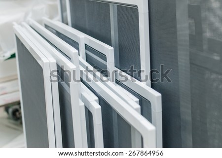 Set of Mosquito Nets Frames for PVC Windows - stock photo