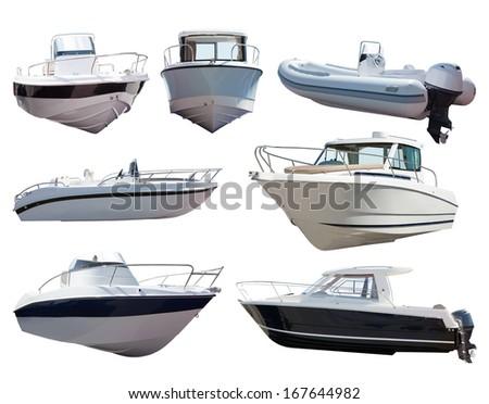 Set of motor boats. Isolated over white background - stock photo
