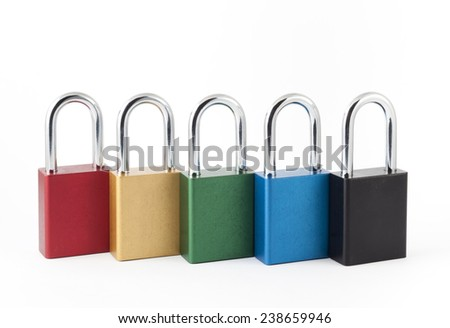 Set of multi-colored padlocks