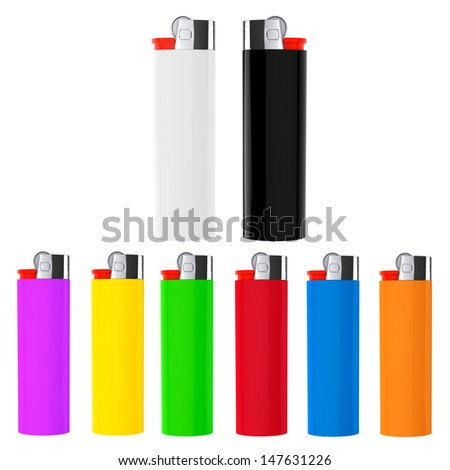 Set of Multicolor closeup cigarette lighters on a white background - stock photo