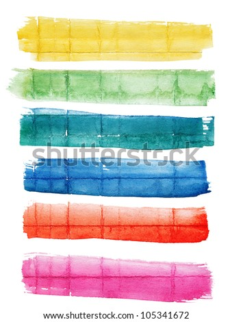 Set of multicolor hand-painted watercolor banners on rough  crumpled paper with different crease patterns - stock photo