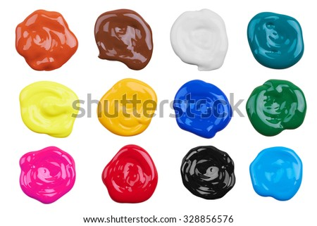 Set of multicolor paints, isolated on white background - stock photo
