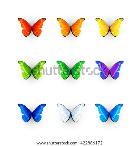 Set of multicolored butterflies isolated on white background, illustration. - stock photo