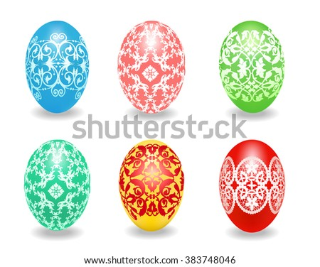 Set of multicolored Easter eggs on a white background - stock photo