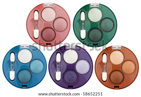 Set of 5 multicolored eye shadows isolated on white - stock photo